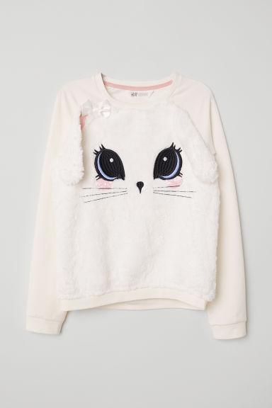Sweatshirt with appliqués - White/Rabbit - Kids | H&M GB