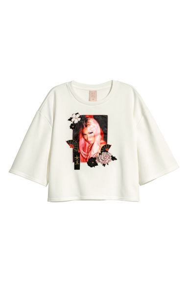 Cropped top with a motif - White/Nicki Minaj -  | H&M IE