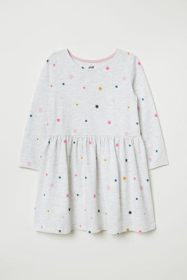 Jersey dress - Light grey marl/Stars - Kids | H&M GB