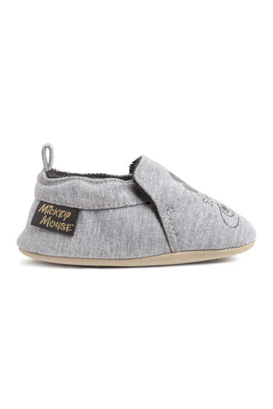 Soft slippers - Grey marl/Mickey Mouse - Kids | H&M GB