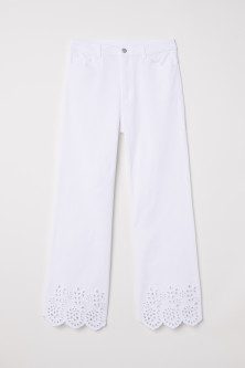 Pants with Eyelet Embroidery