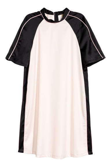 Satin dress - Powder pink/Black - Ladies | H&M GB