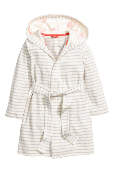Velour dressing gown - White/Grey striped -  | H&M