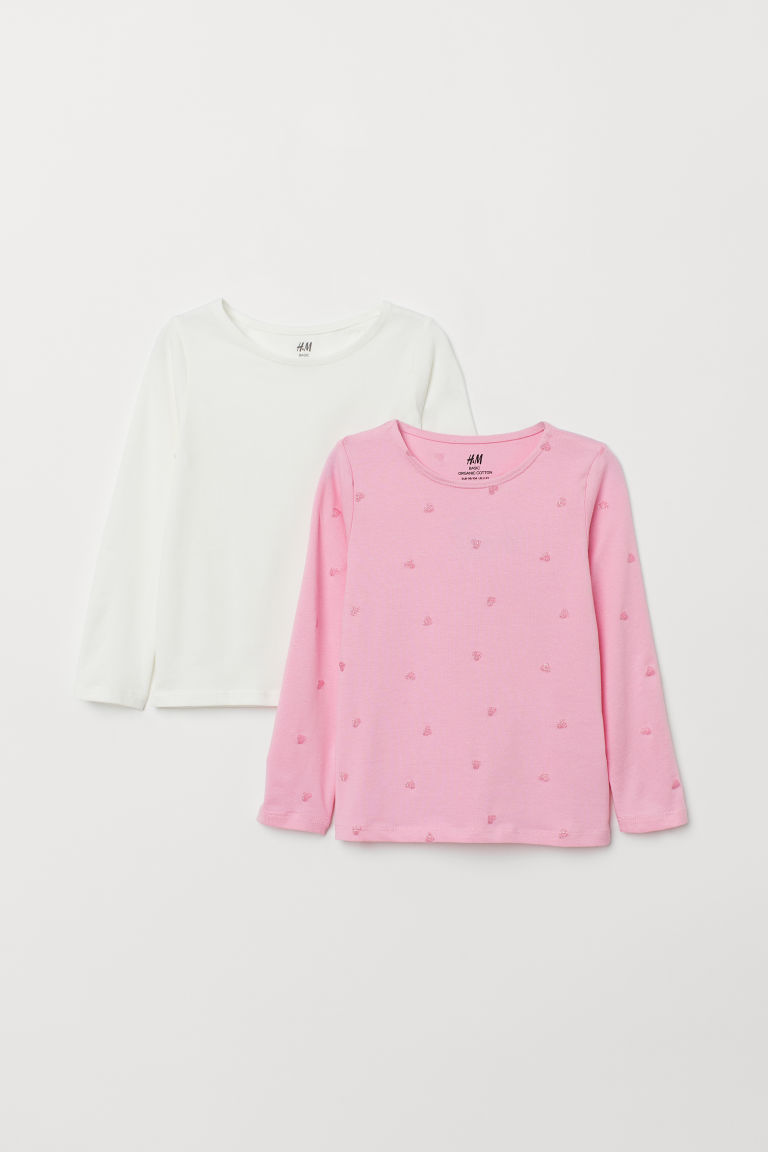 2-pack long-sleeved tops - Pink/Hearts - Kids | H&M GB