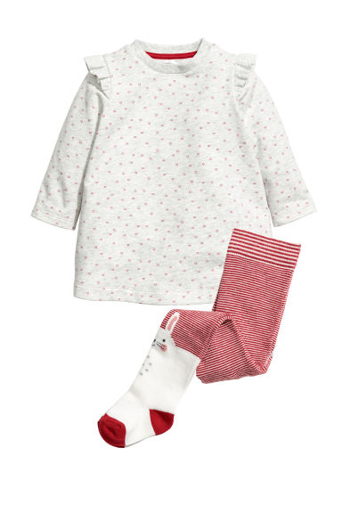 Dress and tights - Light grey/Hearts - Kids | H&M CN 1
