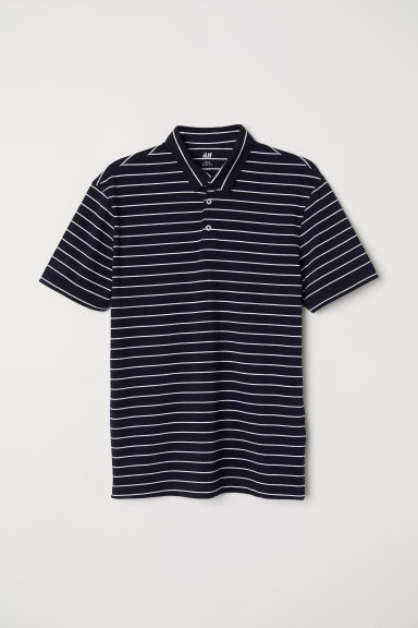 Polo shirt Slim fit - Dark blue/Striped - Men | H&M
