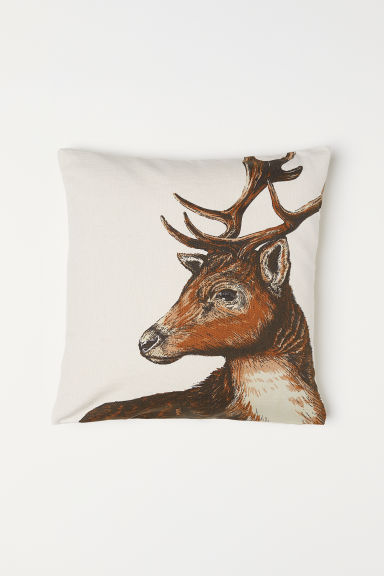 Cotton cushion cover - Natural white/Reindeer - Home All   H&M GB