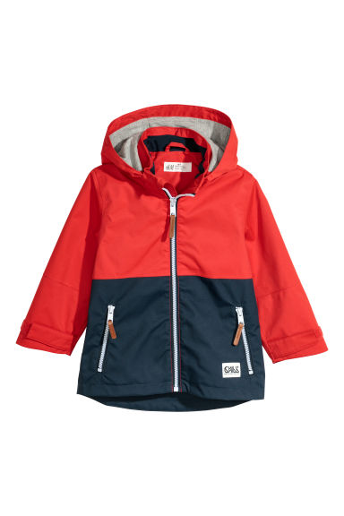 Hooded shell jacket - Red/Dark blue - Kids | H&M CN