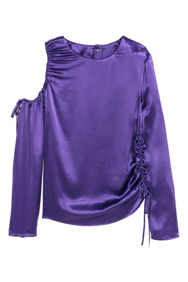 Satin top with drawstrings - Purple - Ladies | H&M GB