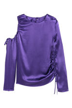 Satin top with drawstrings - Purple - Ladies | H&M 2