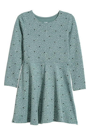 Jersey dress - Dusky blue/Spotted - Kids | H&M