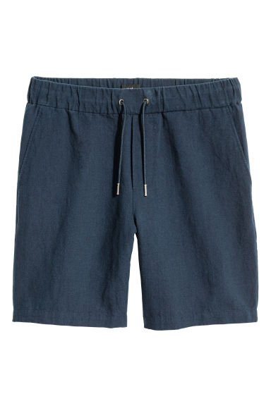Linen-blend shorts - Dark blue - Men | H&M IE