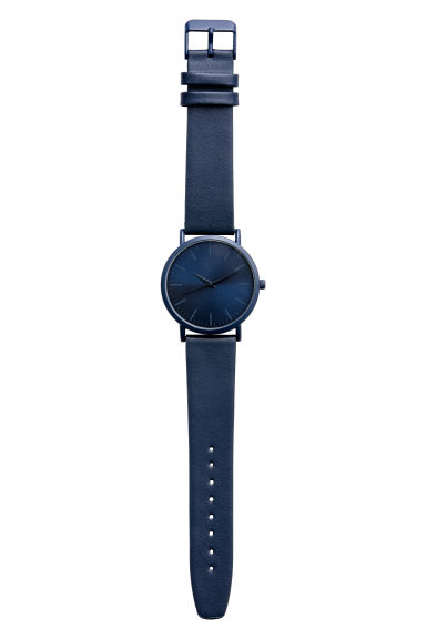 Watch with a leather strap - Dark blue - Men | H&M
