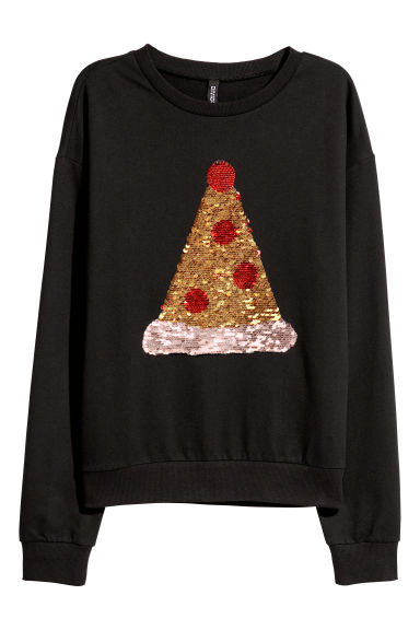Sweatshirt with sequins - Black/Sequins - Ladies | H&M CN
