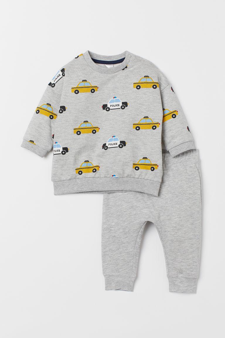 Sweatshirt and leggings - Light grey marl/Cars - Kids | H&M GB