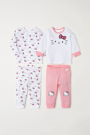 Pack de 2 pijamas de punto - Blanco/Hello Kitty - NIÑOS | H&M ES