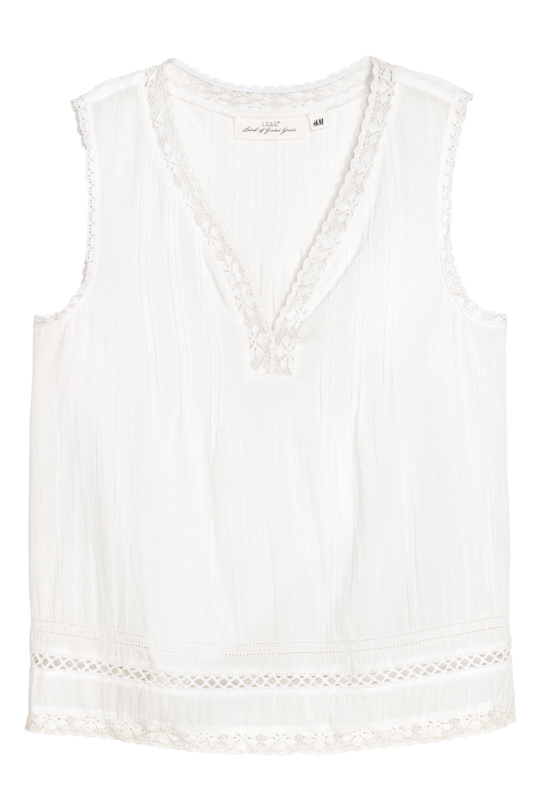 Crinkled cotton top - White - Ladies | H&M GB 1