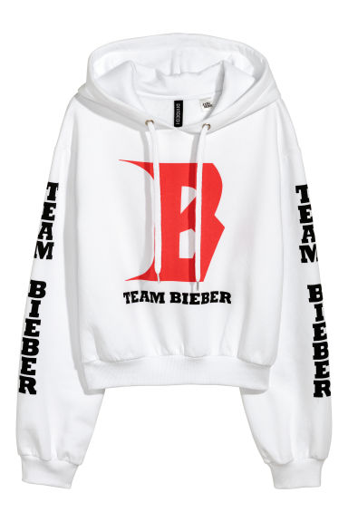 Sweat-shirt à capuche court - Blanc/Justin Bieber - FEMME | H&M BE