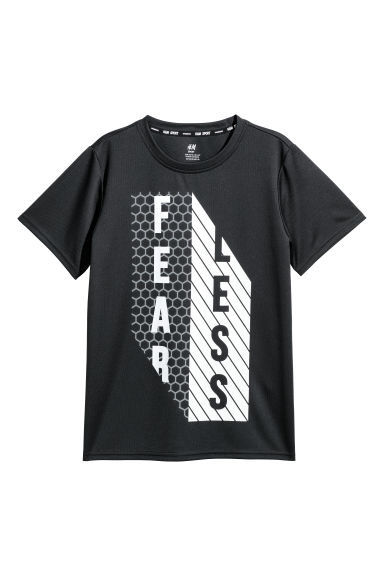 Short-sleeved sports top - Black/White - Kids | H&M CN 1