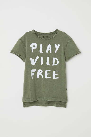 T-shirt con stampa - Verde/Play Wild Free - BAMBINO | H&M CH