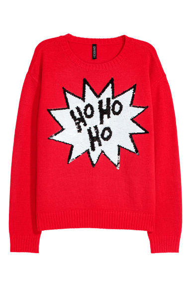Knitted jumper - Red/Reversible sequins -  | H&M IE