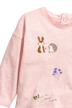 Long-sleeved jersey top - Light pink/Forest animals -  | H&M CN 2