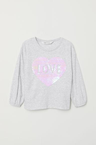 Top with a motif - Light grey marl/Love - Kids | H&M GB