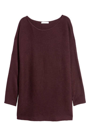 Pullover in maglia a coste - Bordeaux - DONNA | H&M IT