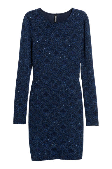 Glittery jersey dress - Dark blue/Glitter - Ladies | H&M