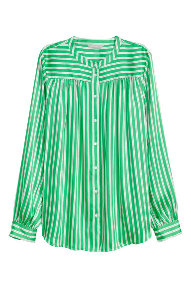 Long-sleeved blouse - Green/Striped - Ladies | H&M