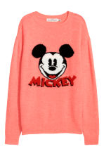 Fine-knit jumper - Coral/Mickey Mouse - Ladies | H&M 2