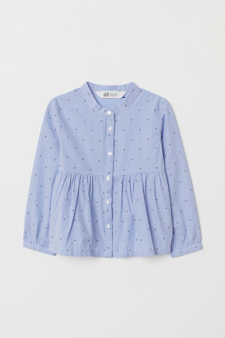 Patterned cotton blouse - Light blue/White striped - Kids | H&M GB