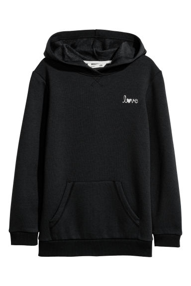 Glittery hooded top - Black - Kids | H&M