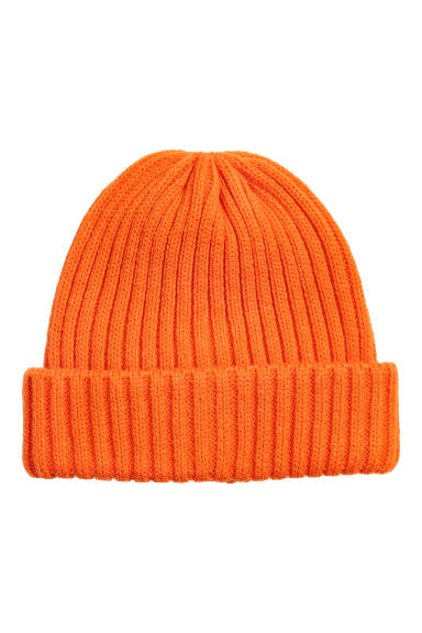 Rib-knit hat - Neon orange - Men | H&M