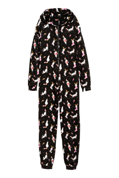 Jersey jumpsuit - Black/Cats -  | H&M
