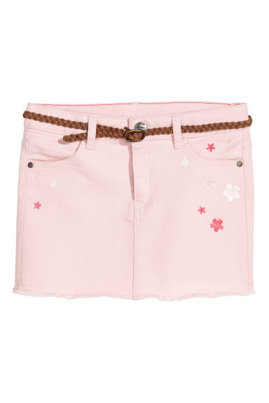 Twill skirt with embroidery - Light pink/Flowers -  | H&M CN