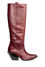 Leather boots - Burgundy - Ladies | H&M CA 1