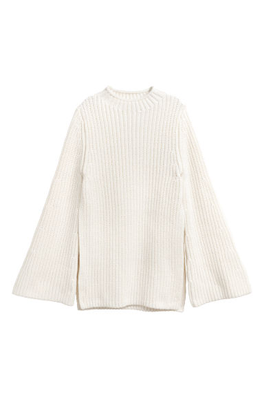 Knitted cotton jumper - Natural white - Ladies | H&M CN