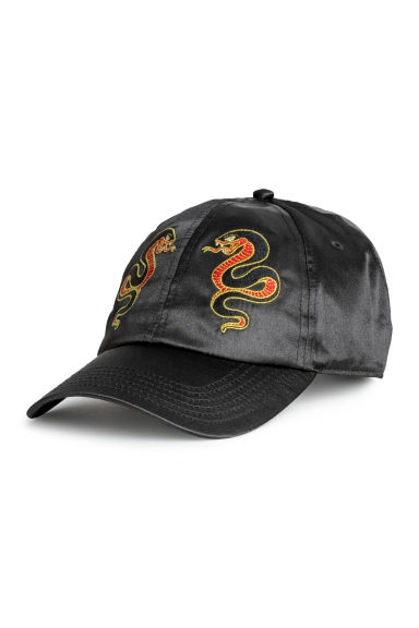 Embroidered satin cap - Black - Men | H&M GB