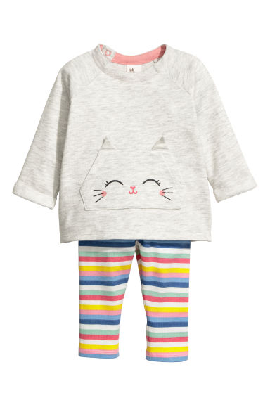 Sweatshirt and leggings - Light grey marl/Cat - Kids | H&M CN