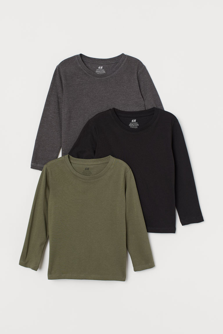 3-pack jersey tops - Khaki green - Kids | H&M GB