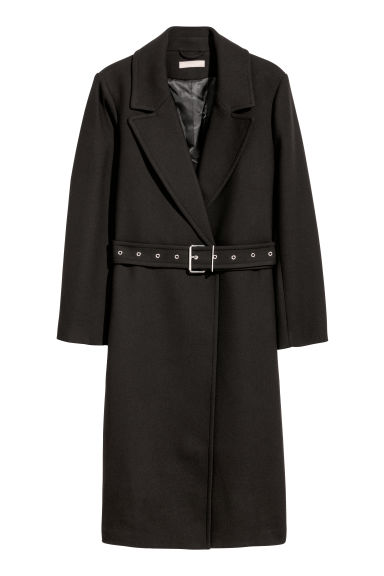 H&M+ Coat with a belt - Black - Ladies | H&M
