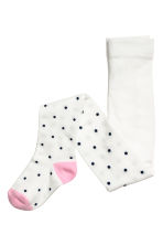 2-pack tights - White/Dark blue spotted - Kids | H&M CN 2