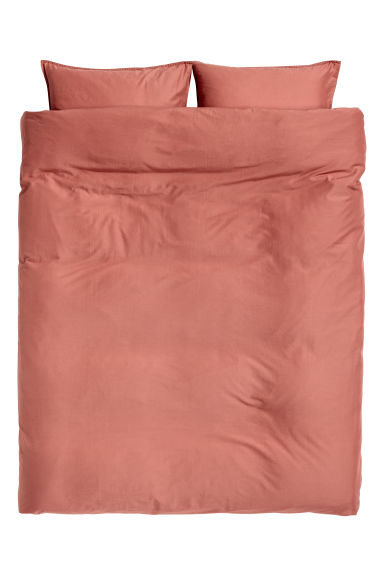 Washed cotton duvet cover set - Rust red - Home All | H&M GB 1