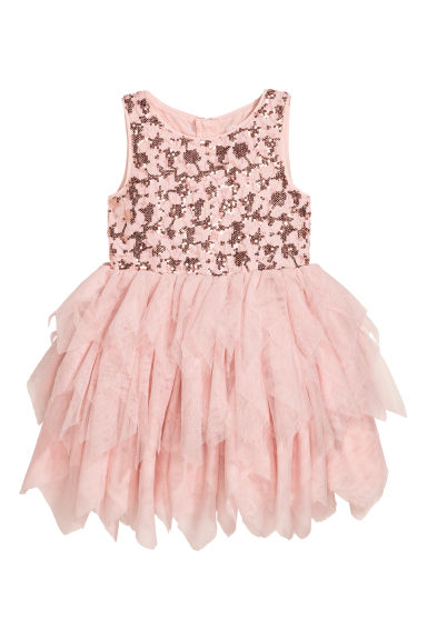 Lace dress with a tulle skirt - Powder pink - Kids | H&M CN