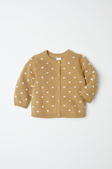 Spotted cotton cardigan - Mustard yellow/White spotted - Kids | H&M CN