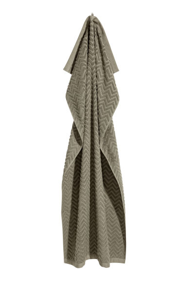 Jacquard-patterned bath towel - Khaki green - Home All | H&M CN 1