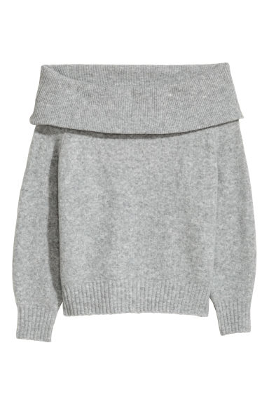 Off-the-shoulder jumper - Grey marl -  | H&M GB