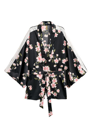 Patterned kimono jacket - Black/Floral - Ladies | H&M CN