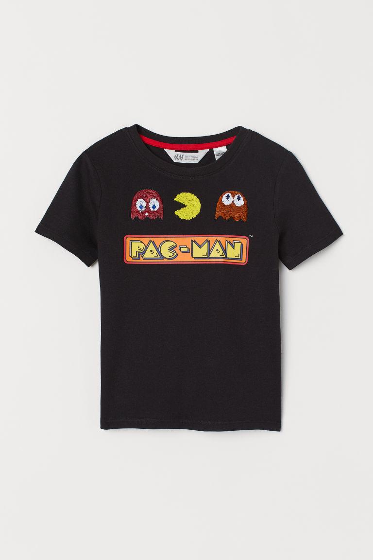 Reversible-sequin T-shirt